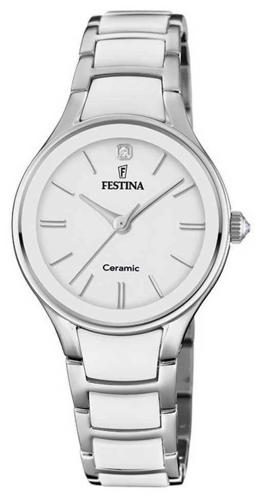 Festina | Womens Ceramic | Silver/White Bracelet | White Dial | F20474/1