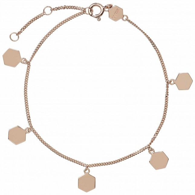 Cluse Essentielle Rose Gold Hexagon Charms Chain Bracelet CLJ10018