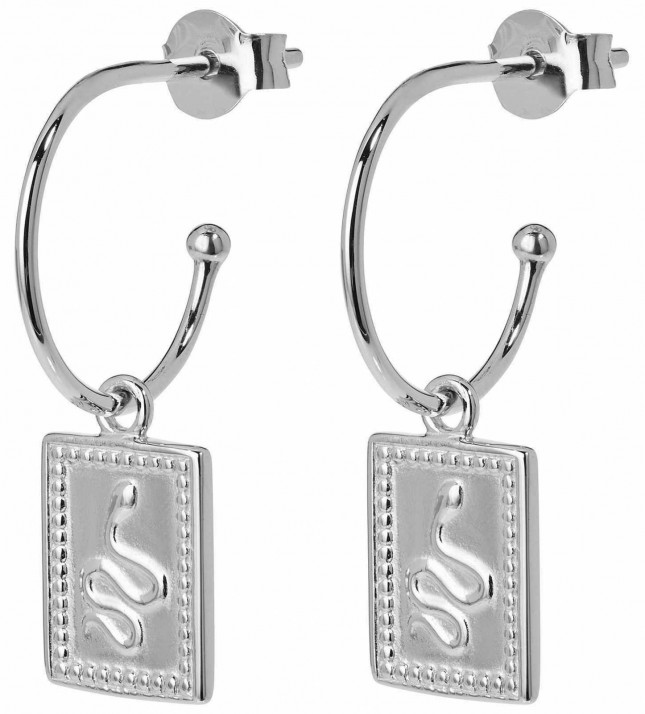 Cluse Force Tropicale Silver Hoop Tag Pendant Earrings CLJ52019