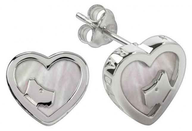Radley Jewellery Silver Mother Of Pearl Heart Stud Earrings RYJ1067