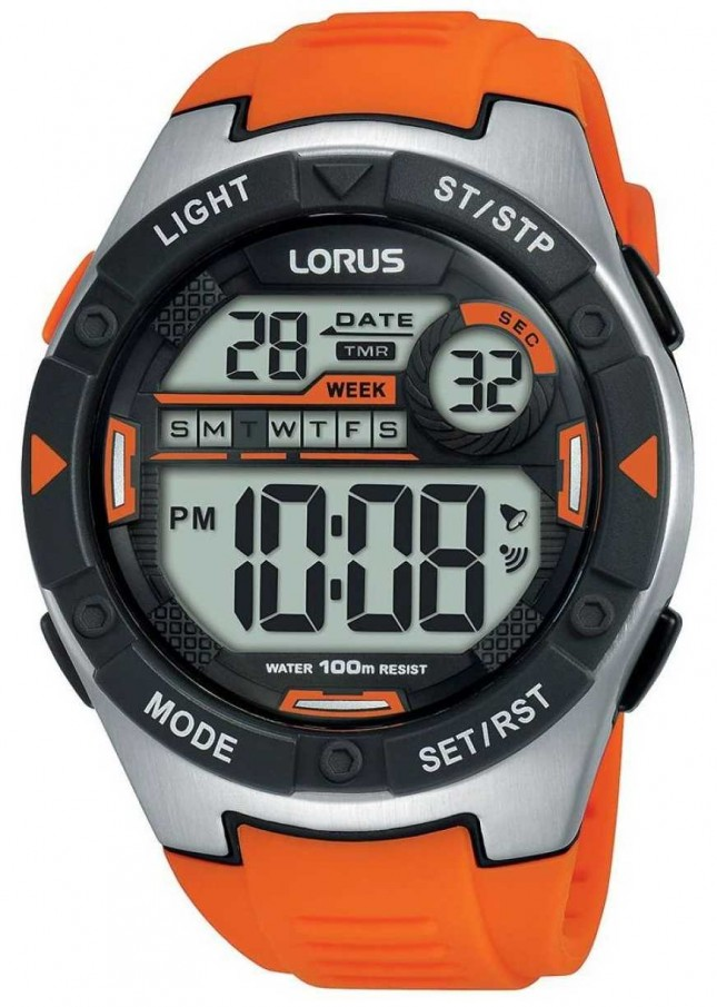 Lorus | Mens Sports Digital | Orange Rubber Strap | R2303NX9