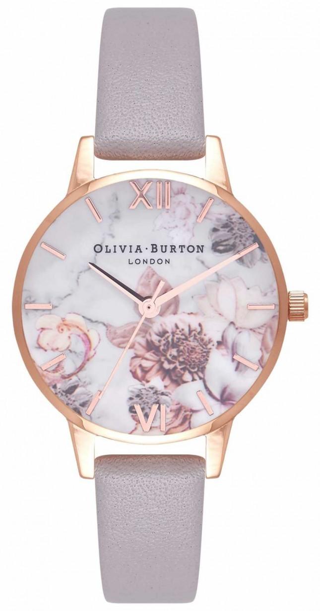 Olivia Burton | Womens | Marble Florals | Grey Lilac Leather Strap | OB16CS14