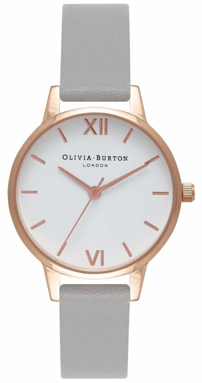 Olivia Burton | Womens | White Dial | Grey Leather Strap | OB16MDW05