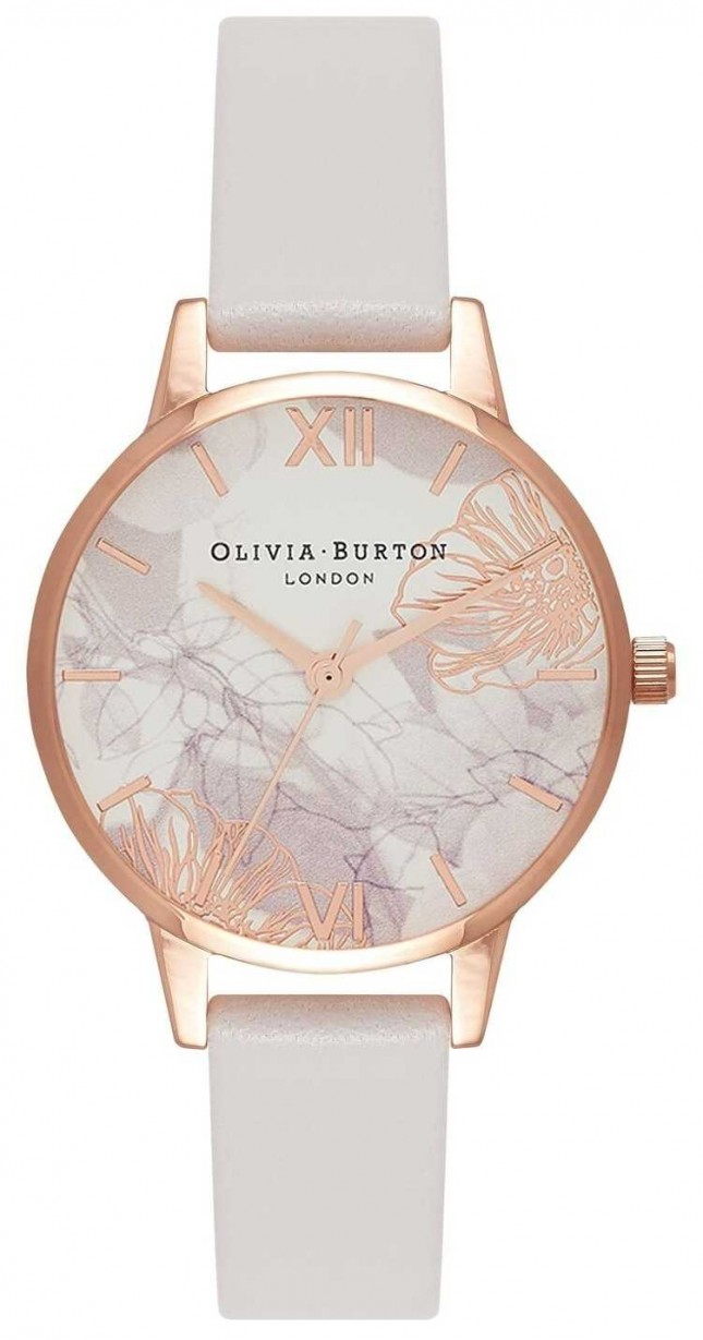 Olivia Burton | Womens | Abstract Florals | Blush Leather Strap | OB16VM12
