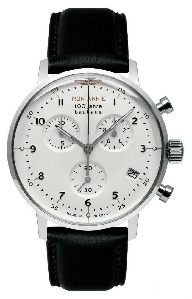 Iron Annie Bauhaus | Chrono | White Dial | Black Leather 5096-1