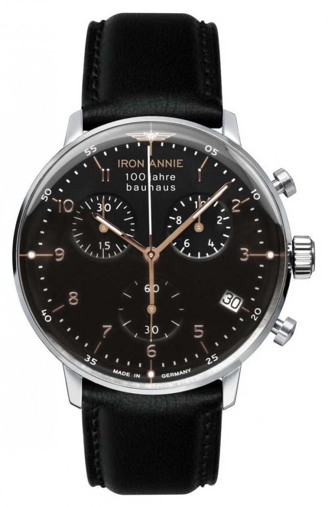 Iron Annie Bauhaus | Chrono | Black Dial | Black Leather 5096-2