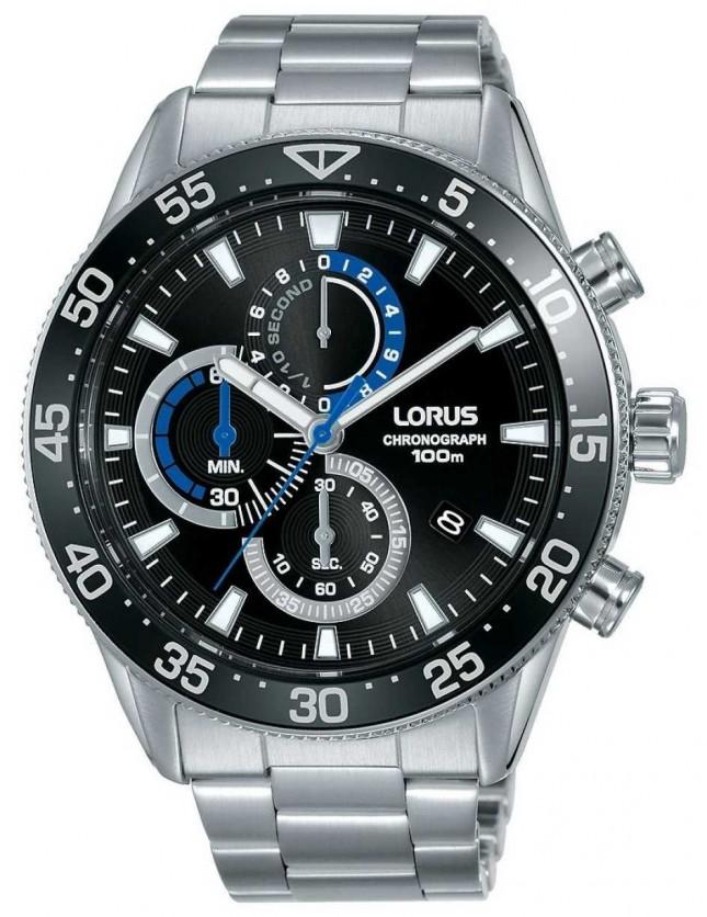 Lorus | Mens Chronograph | Black Dial | Stainless Steel Bracelet | RM335FX9