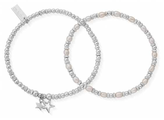 ChloBo | Life Long Magic | Pearl Bracelets | Set of 2 | 18cm | SBSETMAGIC18