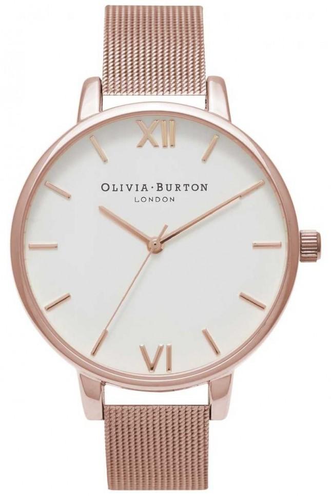 Olivia Burton   Womens   Rose Gold Mesh Bracelet   White Dial   OB15BD79