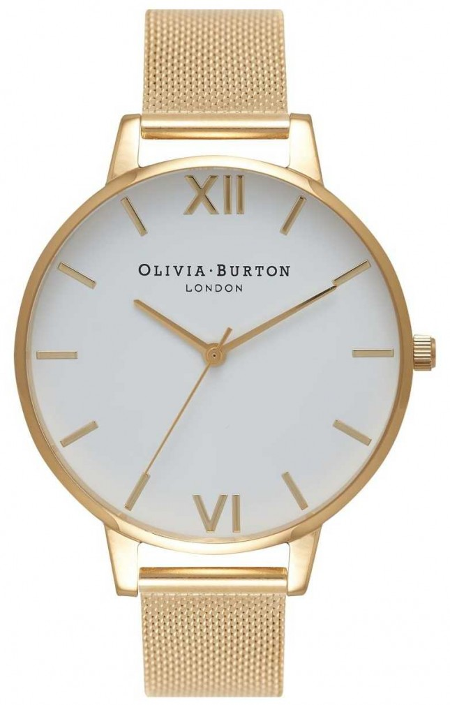 Olivia Burton | Womens | White Dial | Gold Mesh Bracelet | OB15BD84