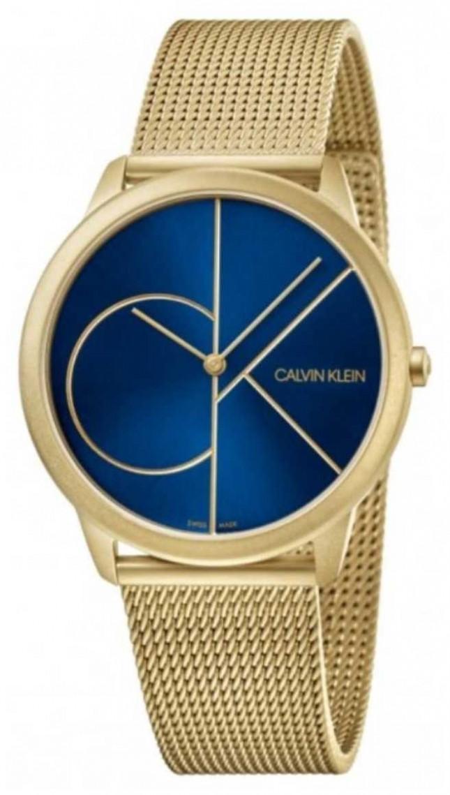 Calvin Klein Minimal   Gold Mesh Bracelet   Blue Dial   K3M5155N