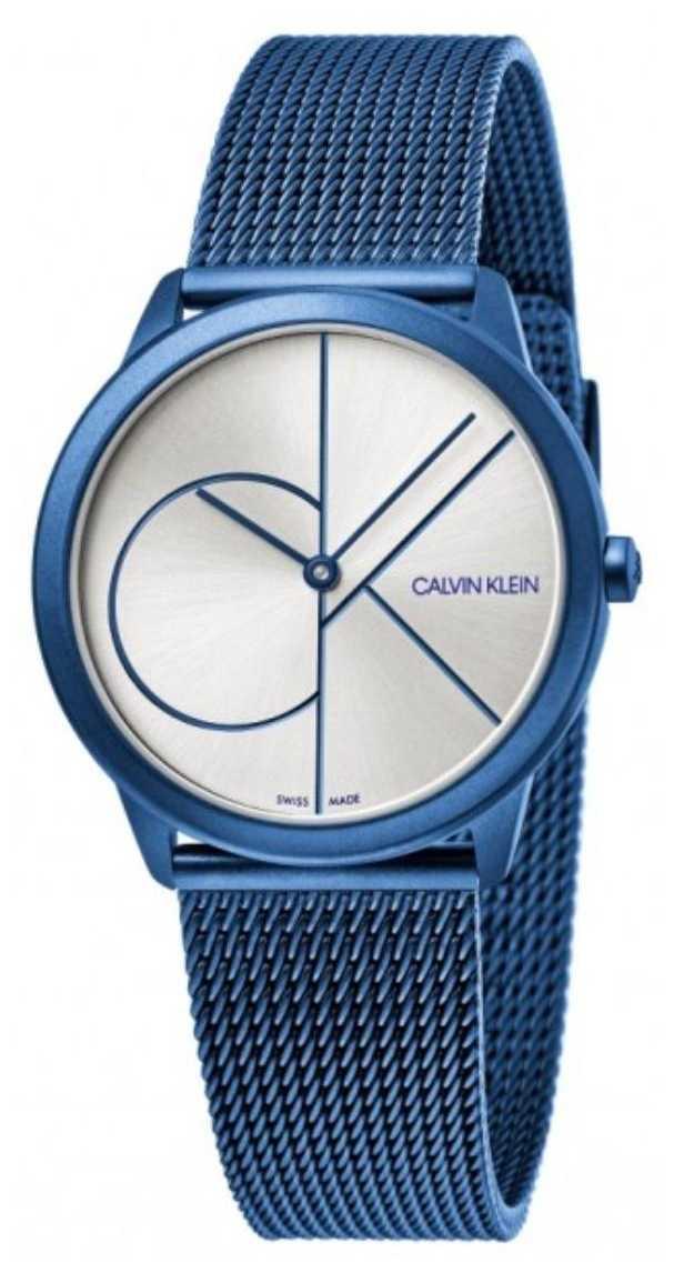 Calvin Klein Minimal   Blue Mesh Bracelet   Silver Dial   K3M52T56