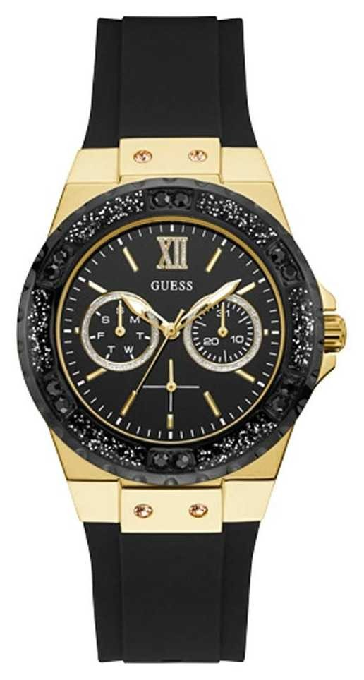 Guess | Women's Limelight | Black Silicone Strap | Black Dial | W1053L7