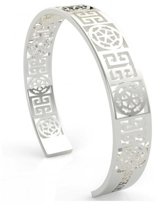 Guess Women's 'Peony Art' Silver Cut Out Bangle UBB29104