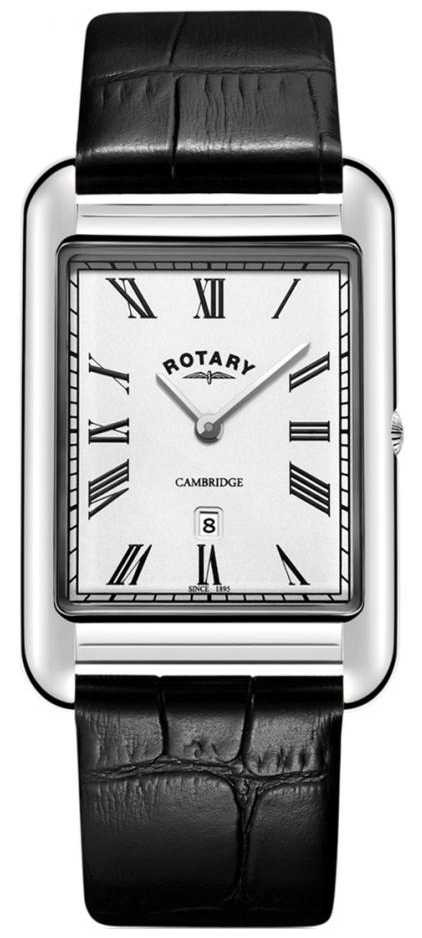 Rotary Mens Cambridge Date Square Black Leather Strap Watch GS05280/01