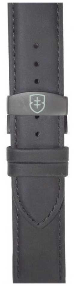 Elliot Brown Mens 22mm Black Matt Leather Deployant Strap Only STR-L10