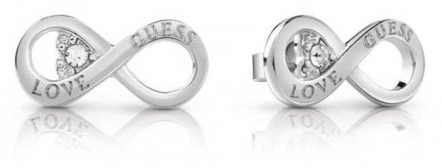 Guess Ladies Silver Plate Endless Love Studded Earrings UBE85010