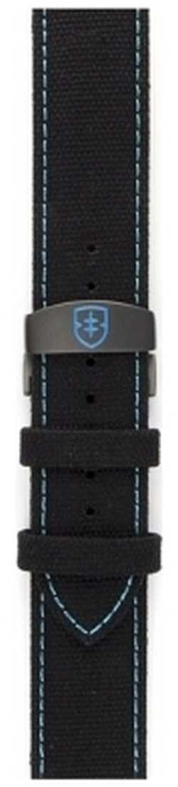 Elliot Brown Mens 22mm Black Canvas With Blue Stitch Strap Only STR-C02