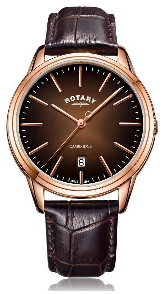 Rotary   Men's Cambridge   Rose Gold PVD Case   Brown Leather Strap GS05394/16