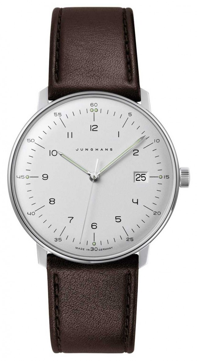 Junghans Men's Max Bill Quartz White Dial Brown Leather Watch 041/4461.04