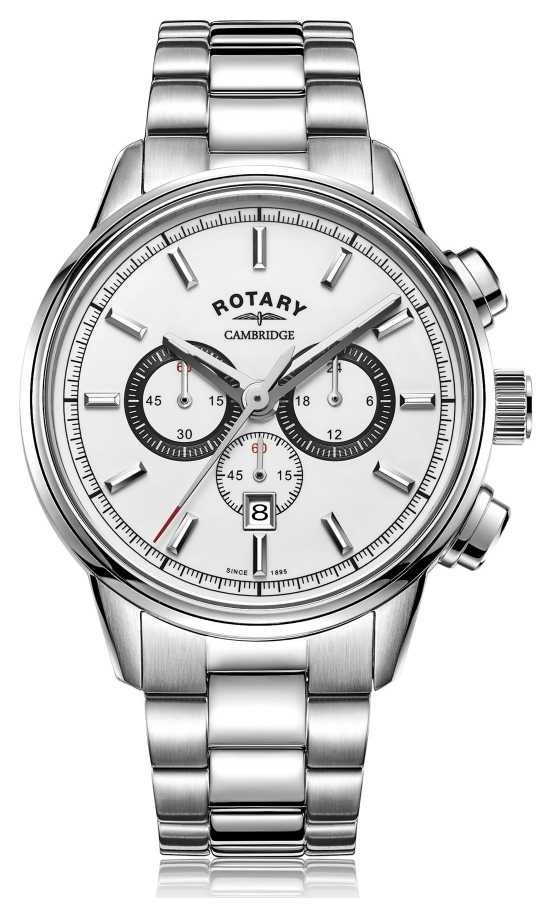 Rotary | Men's Cambridge Chronograph | White Dial | Stainless Steel GB05395/02