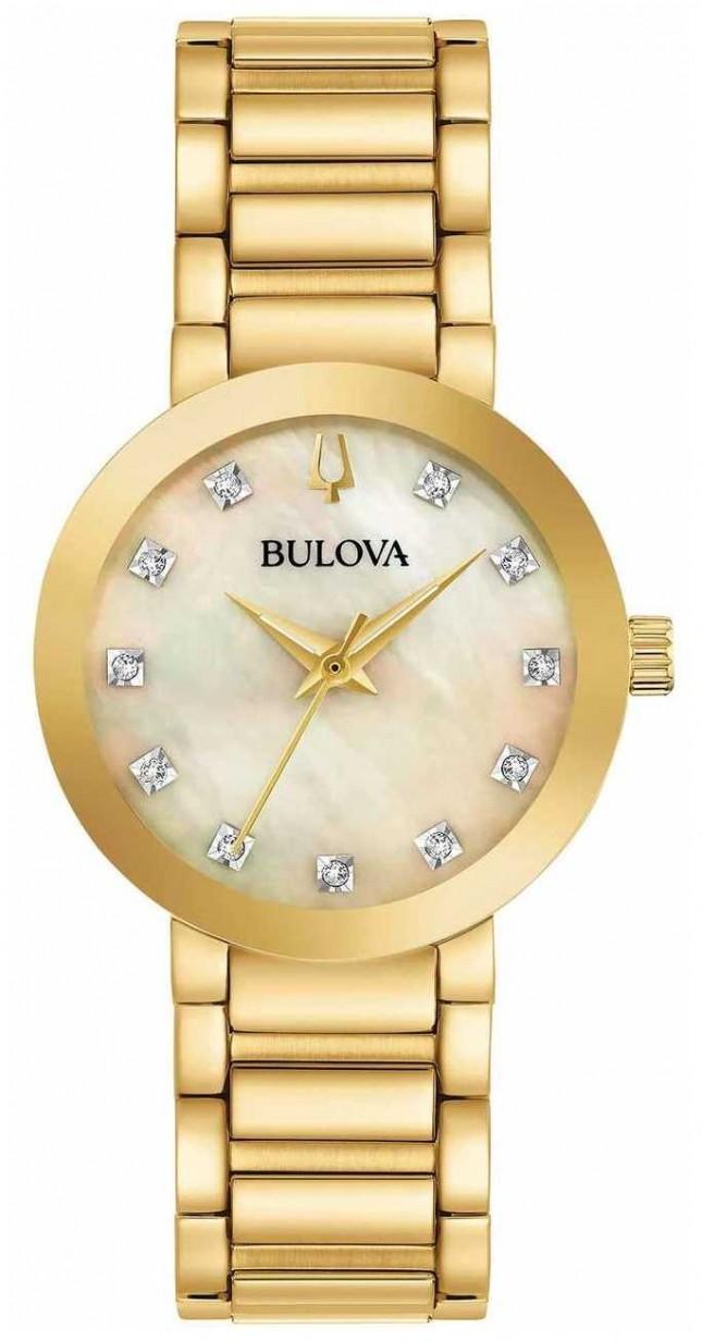 Bulova Women's Gold PVD Plated Crystal Set Watch 97P133
