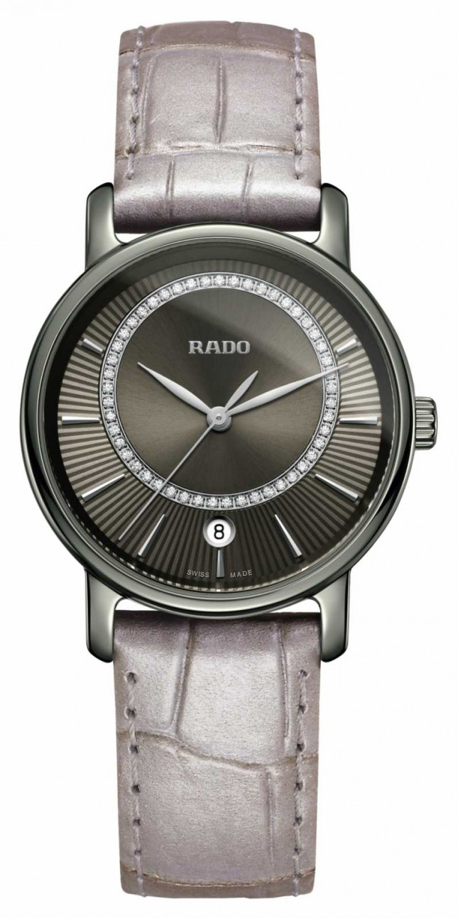 RADO DiaMaster Diamonds Grey Leather Strap Grey Dial Watch R14064715