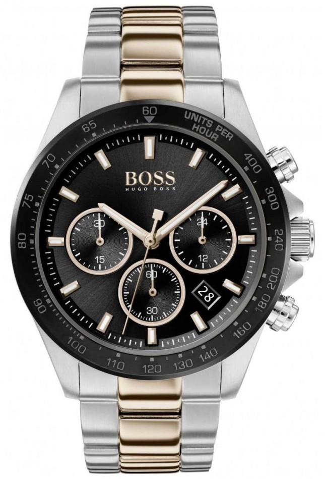 BOSS | Men's | Hero Sport Lux | Two Tone Bracelet | Black Dial | 1513757