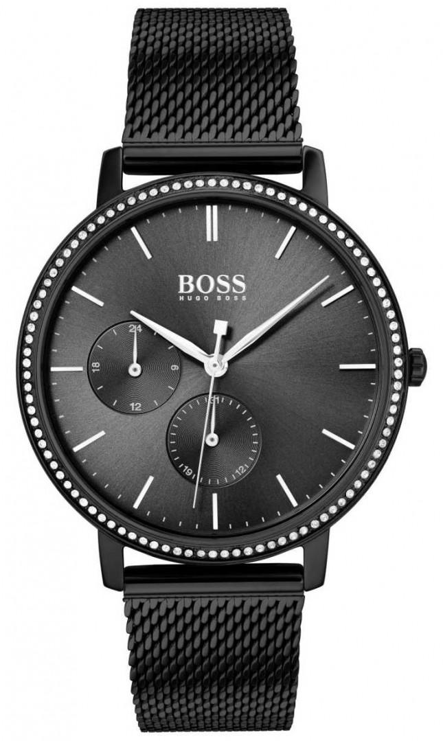 BOSS   Women's Infinity   Black Mesh Bracelet   Black Sunray Dial 1502521