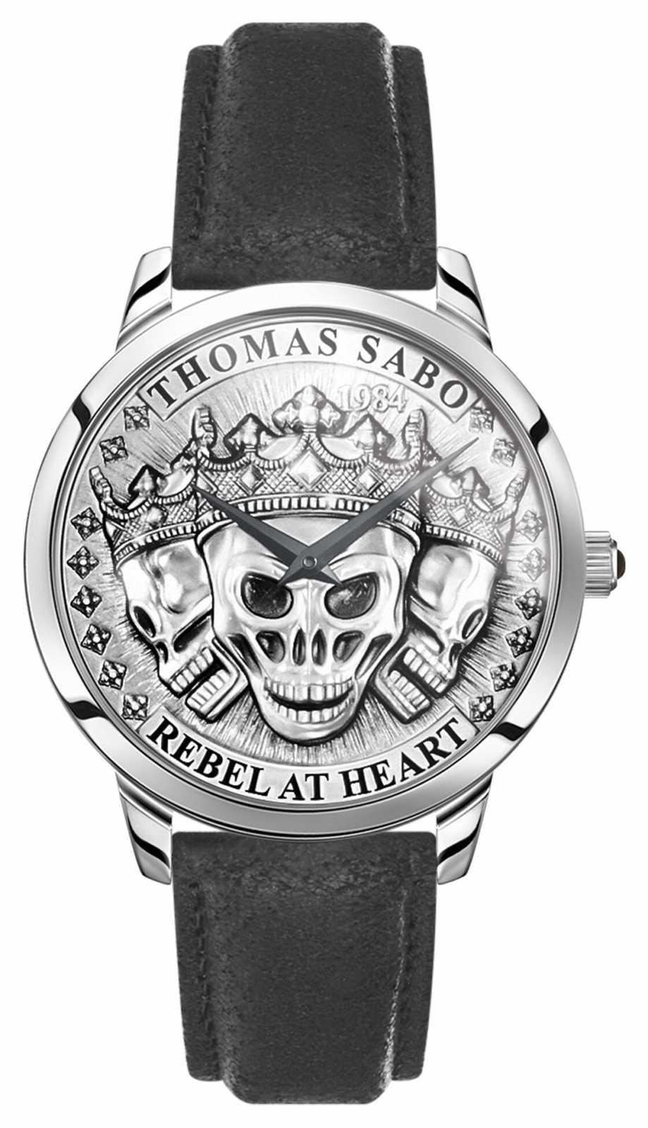 Thomas Sabo | Men's Rebel Spirit 3D Skulls | Black Leather Strap | WA0355-203-201-42