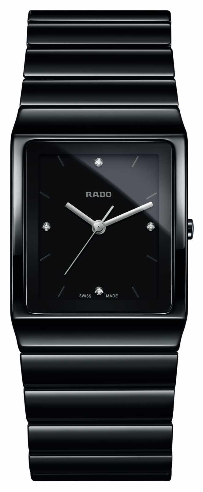 RADO Ceramica Diamonds Square Dial Ceramic Bracelet Watch R21700702