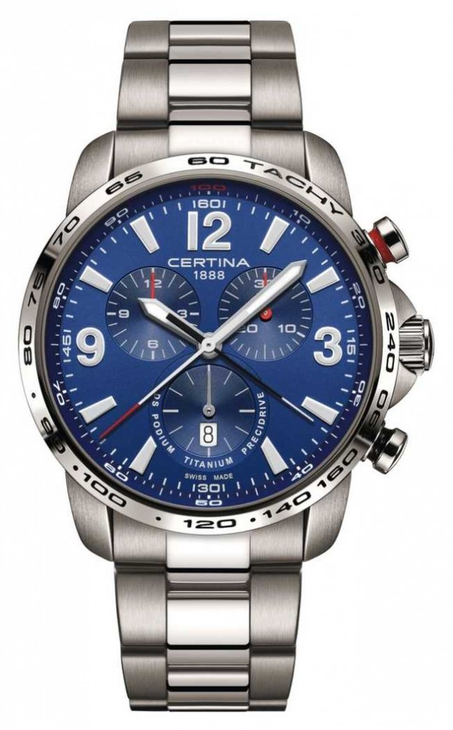 Certina | DS Podium | Blue Chronograph Dial | Titanium Bracelet | C0016474404700