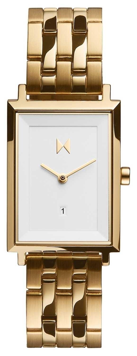 MVMT Signature Square   Gold Plated Steel Bracelet   White Dial D-MF03-G