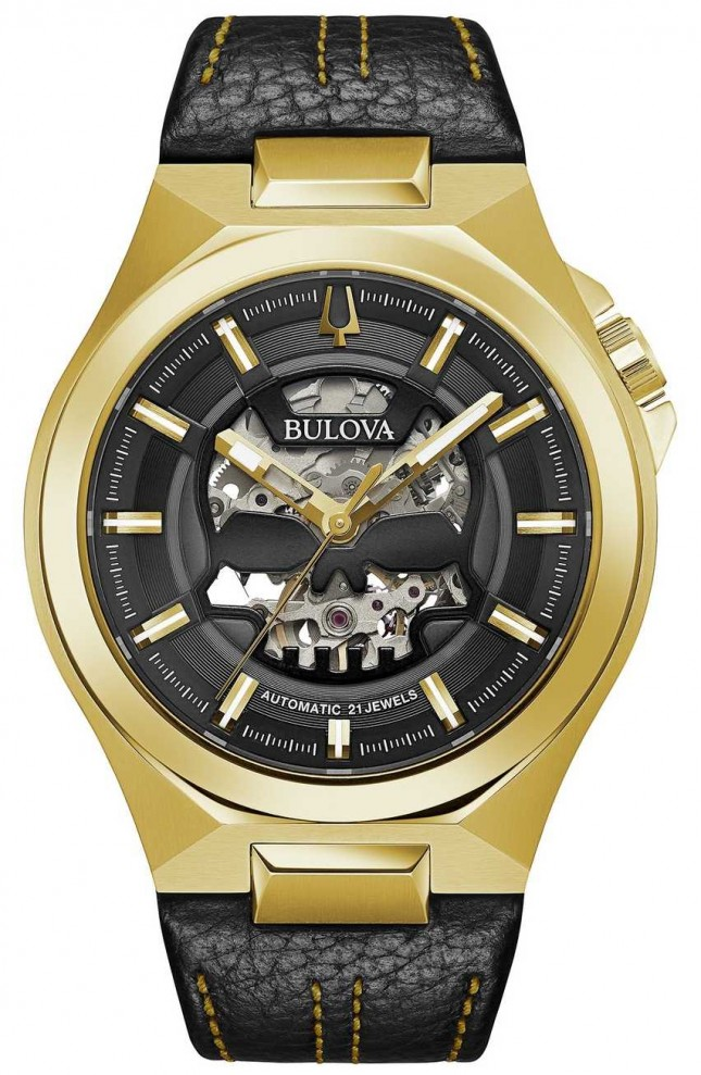 Bulova | Maquina | Mens | Automatic | Black Leather Strap | 97A148