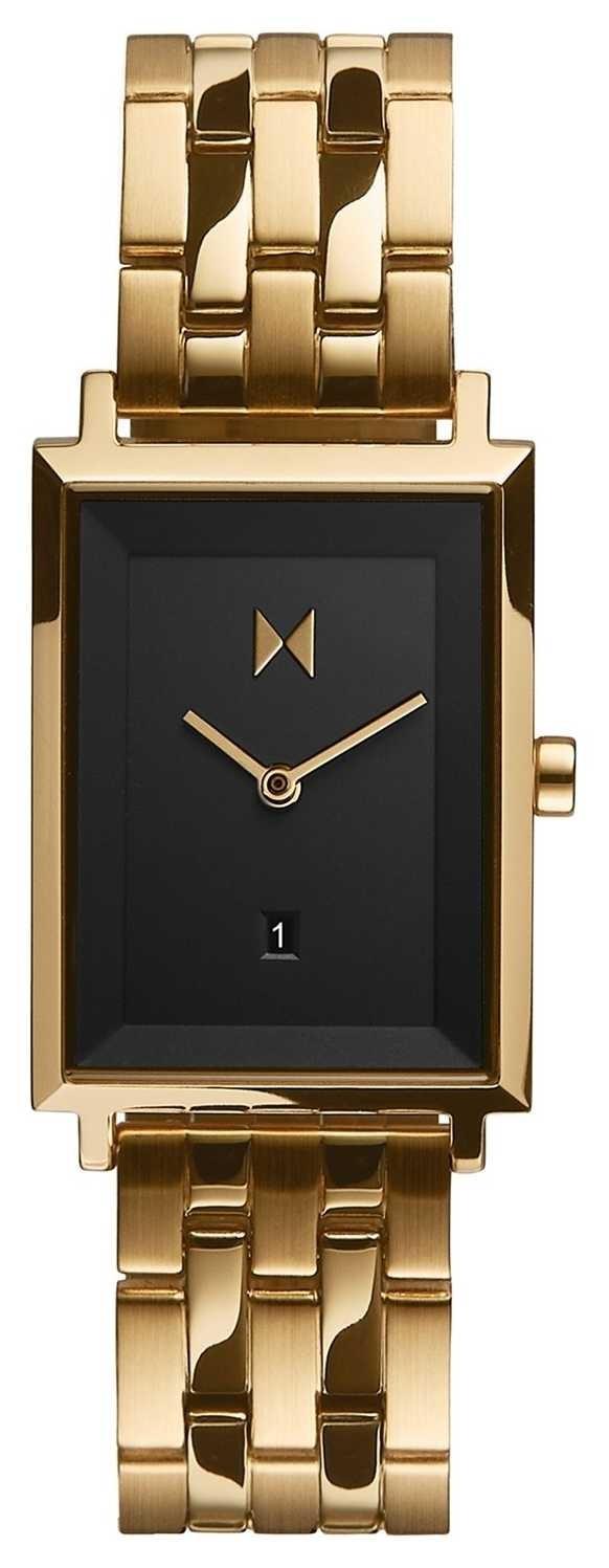 MVMT Signature Square   Gold Plated Bracelet   Black Dial  D-MF03-GGR