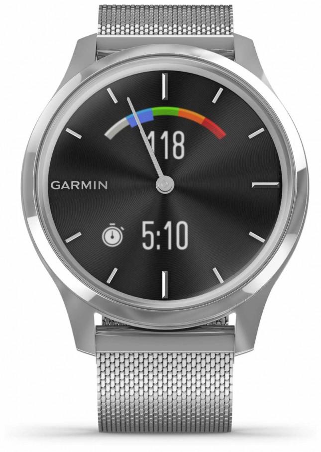 Garmin Vivomove 3 Luxe | Stainless Steel Case | Silver Milanese Band 010-02241-03