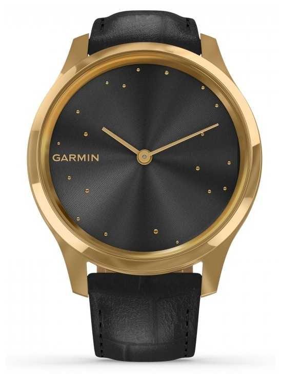 Garmin Vivomove 3 Luxe | 24ct Gold PVD Case | Black Italian Leather 010-02241-02