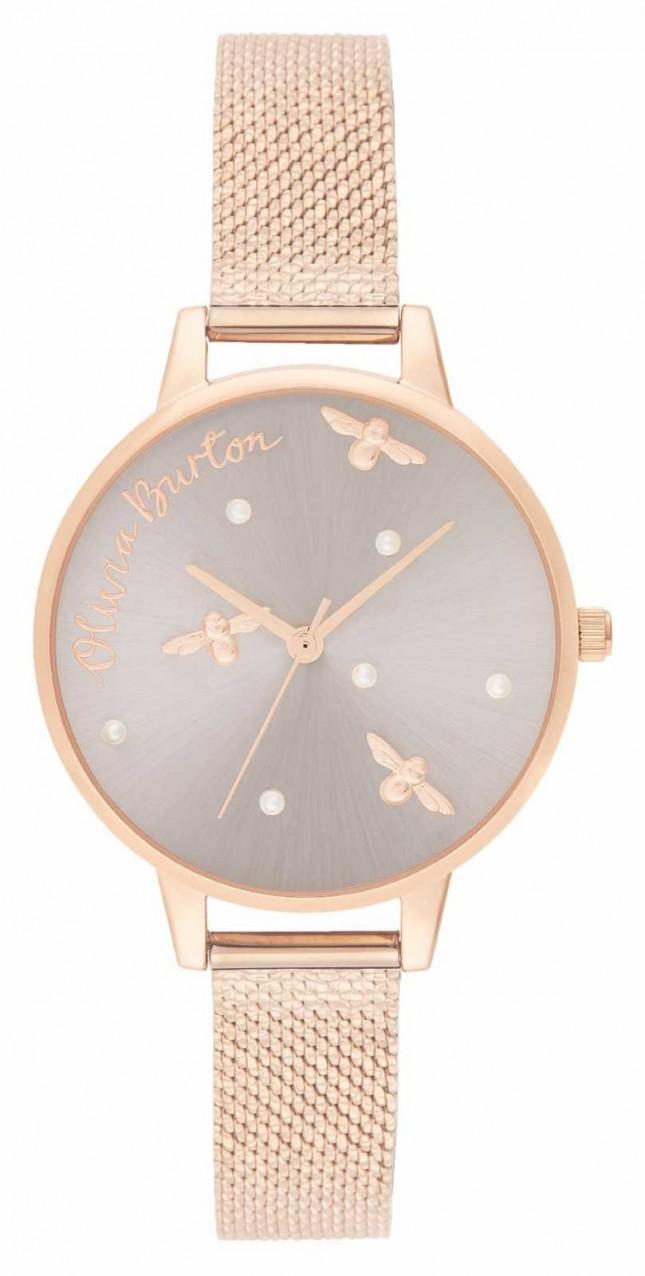 Olivia Burton   Womens   Pearly Queen   Rose Gold Mesh Bracelet   OB16PQ04