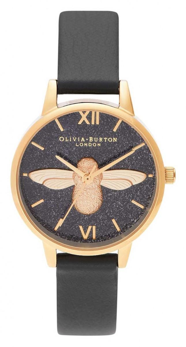 Olivia Burton   Womens   Glitter Dial   3D Bee   Black Leather Strap   OB16GD48