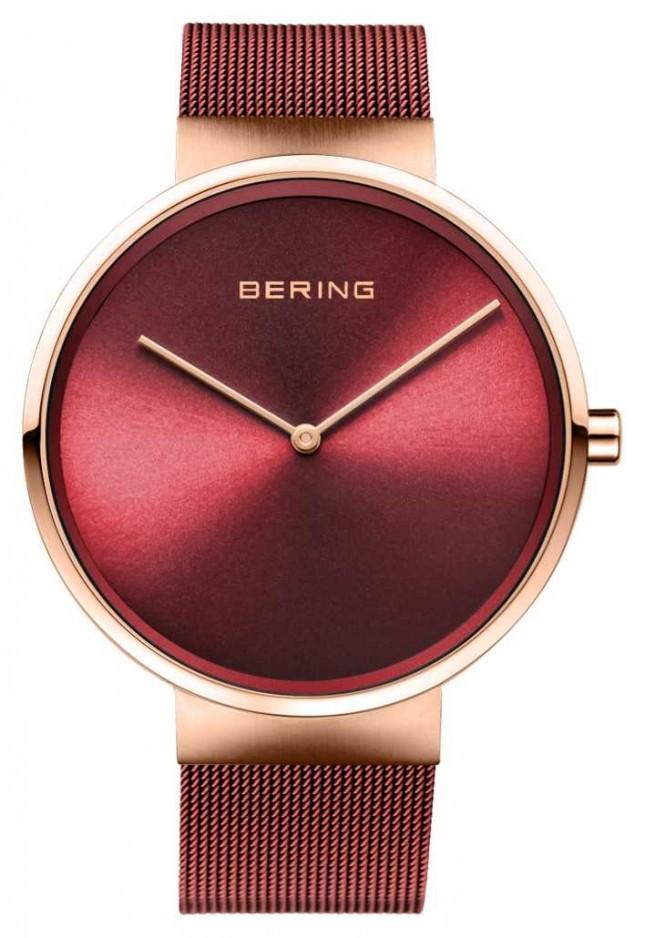 Bering   Classic   Polished/Brushed Rose Gold   Red Mesh Bracelet   14539-363