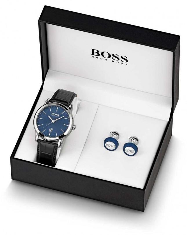 BOSS   Mens   Blue Watch And Cufflink Set   1570092