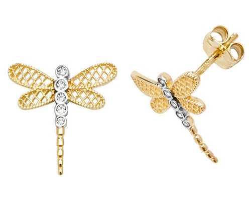 Treasure House 9k Yellow Gold Dragonfly Cubic Zirconia Stud Earrings ES602