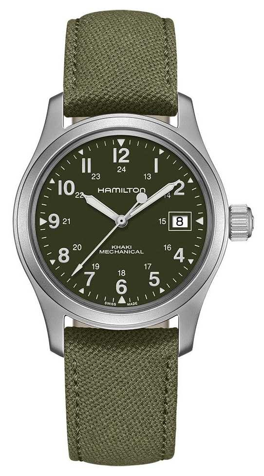 Hamilton | Khaki Field | Officer Mechanical | Green Canvas Strap | H69439363