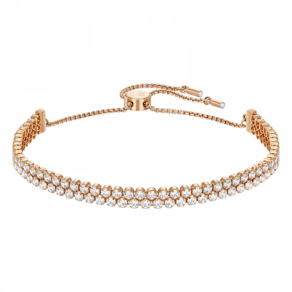 Swarovski Subtle | Rose-Gold Plated | White | Two Strands Bracelet 5224182