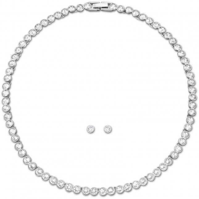 Swarovski Tennis | Rhodium Plated |Necklace And Earring Set 5007747