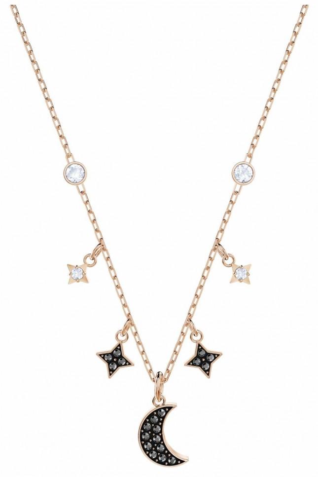 Swarovski Symbolic   Rose-Gold Plated   Black   Moon   Necklace 5429737