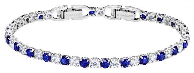 Swarovski Tennis   Rhodium plated  Blue   Deluxe  Bracelet 5506253