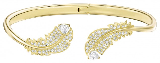 Swarovski Nice  Gold-Tone plated  White   Feather  Bangle 5505622