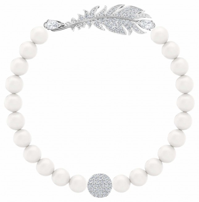 Swarovski Nice | Rhodium plated | Pearl |Feather |Bracelet 5509723