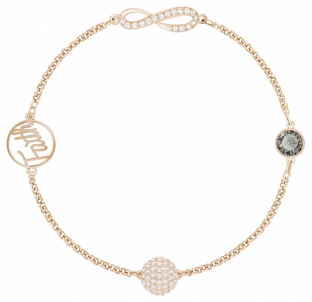 Swarovski Remix  Rose-Gold plated Infinity Strand Black L Bracelet 5421441